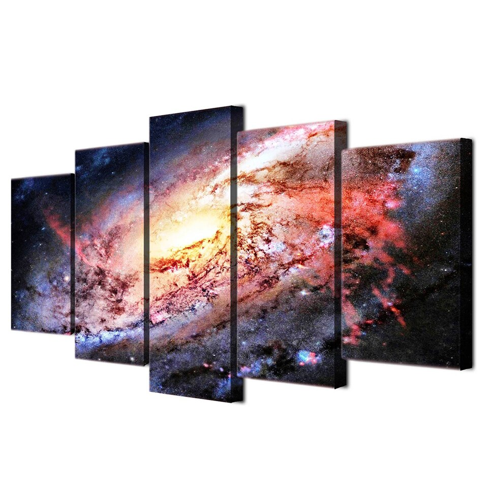 5-Piece Deep Space Milky Way Galaxy Canvas Wall Art