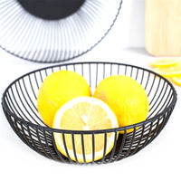 Black Minimalist Metal Wire Storage Basket Bowl