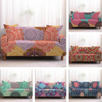 Colorful Overlapping Mandala Pattern Sofa Couch Cover