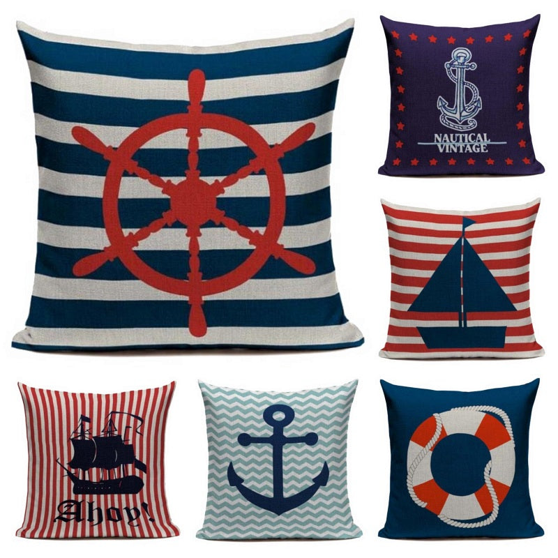 "18"" Red / Blue Nautical Boat Inspiration Pillow Cover"