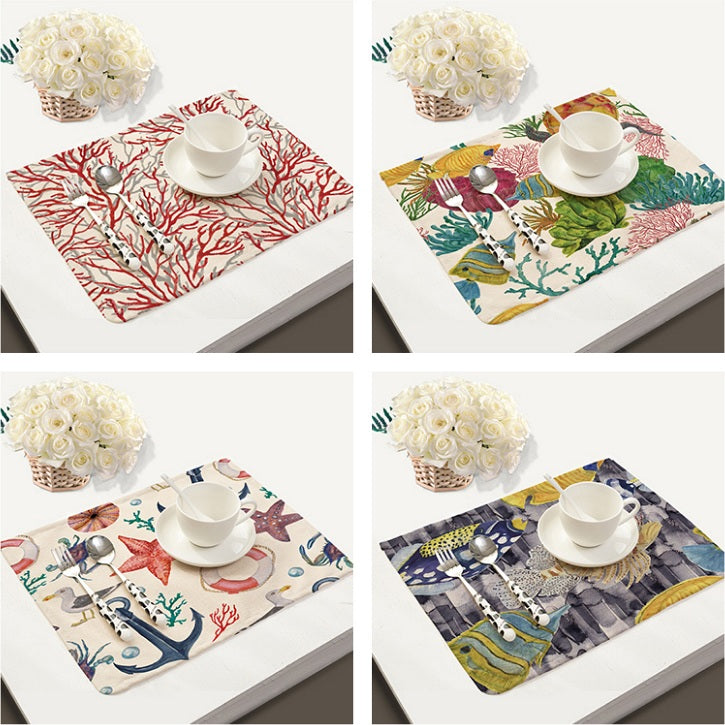 2-6 Piece Nautical Ocean Life Print Table Placemat Set