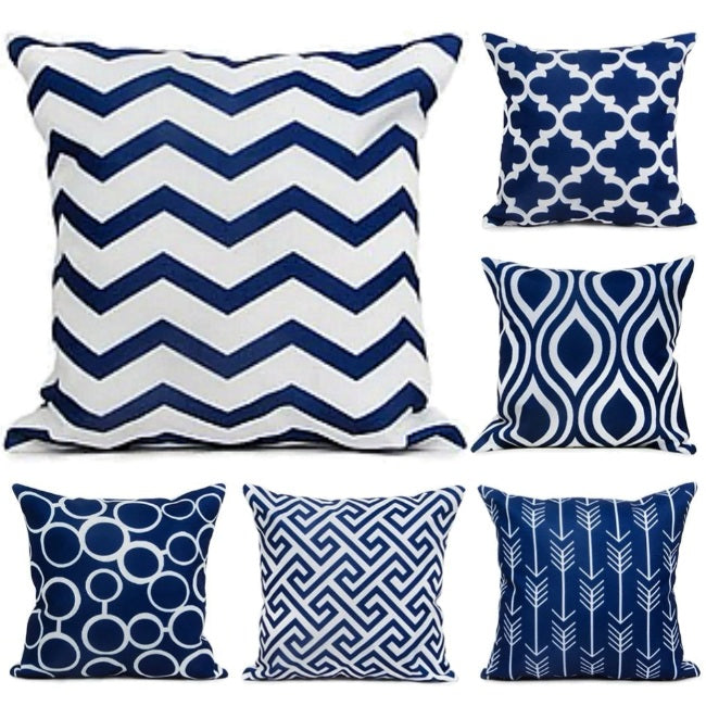 Navy Blue Geometric Pattern Throw Pillow Cover