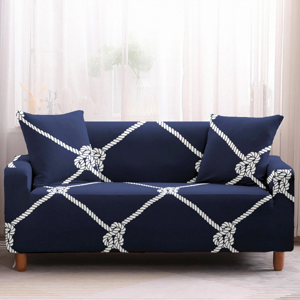 Navy Diamond Nautical Rope Pattern Sofa Couch Cover