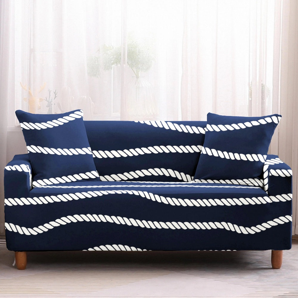 Navy Nautical Striped Rope Pattern Sofa Couch Cover