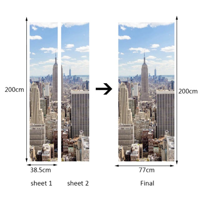 New York City Skyline 3D Door Mural Sticker