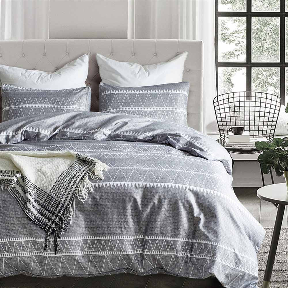 Gray 2/3-Piece Geometric Stripe Pattern Duvet Cover Set
