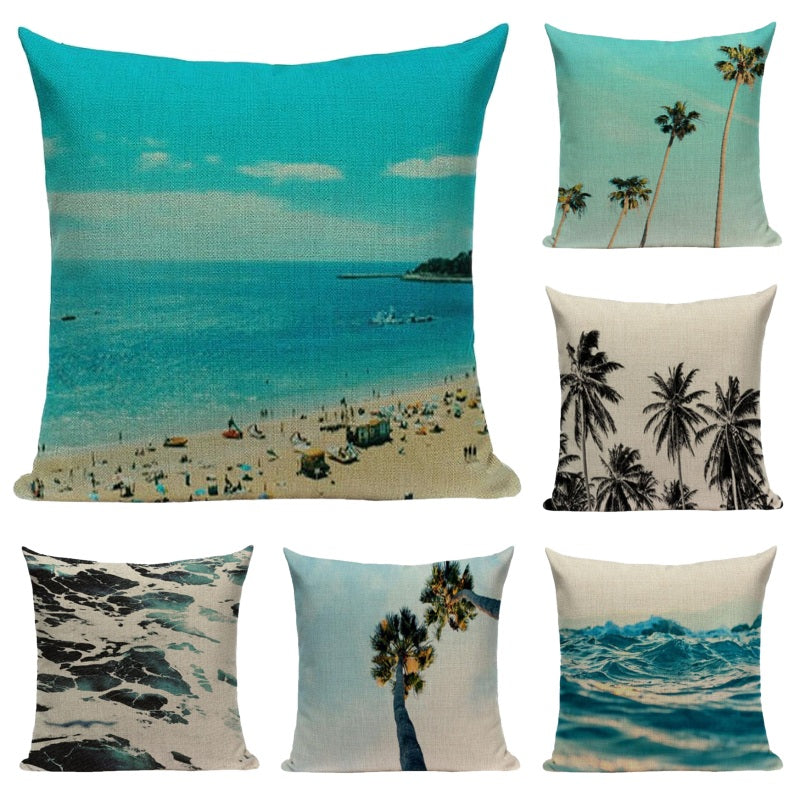 "18"" Coastal Ocean Beach Print Throw Pillow Cover"