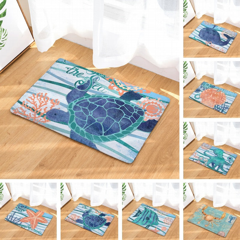 Blue Coastal Ocean Sea Creature Print Door / Floor Mat