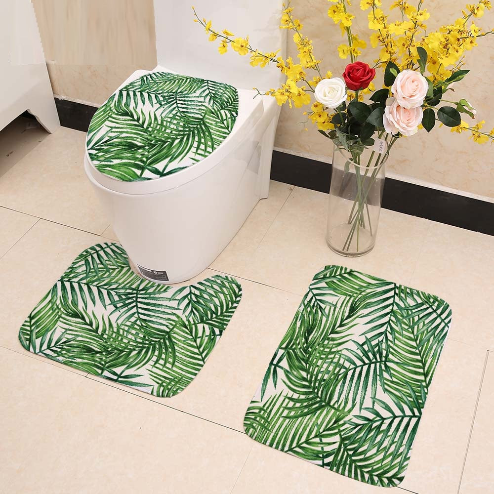 3-Piece Palm Leaf Pattern Bathroom Mat Set
