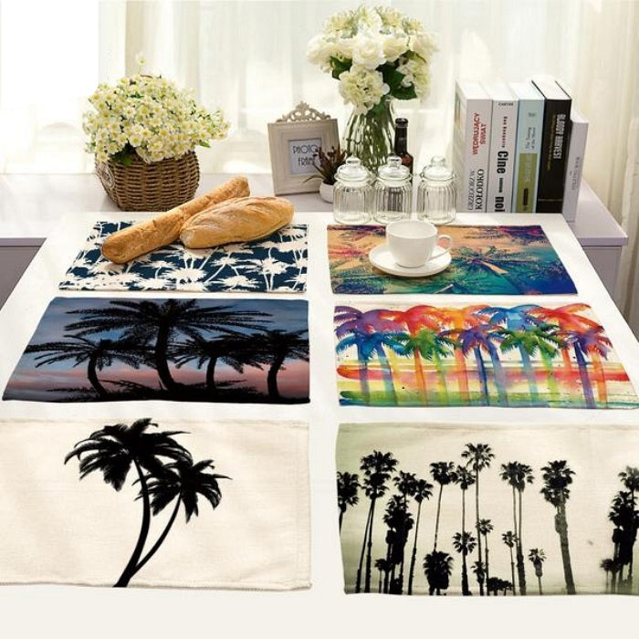 Multi-Color Tropical Palm Tree Print Table Placemat