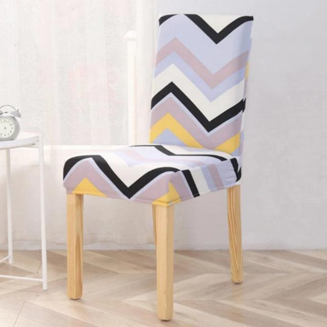 Multi-Color Pastel Chevron Stripe Dining Chair Cover