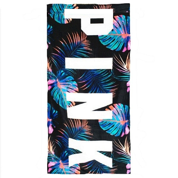 Black Pink Neon Palm Leaf Pattern Beach Towel