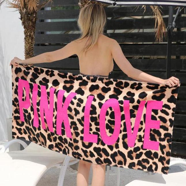 Pink Love Leopard Print Beach Towel