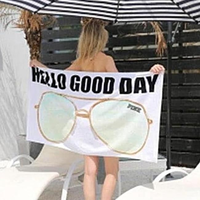 Hello Good Day Sunglasses Beach Towel