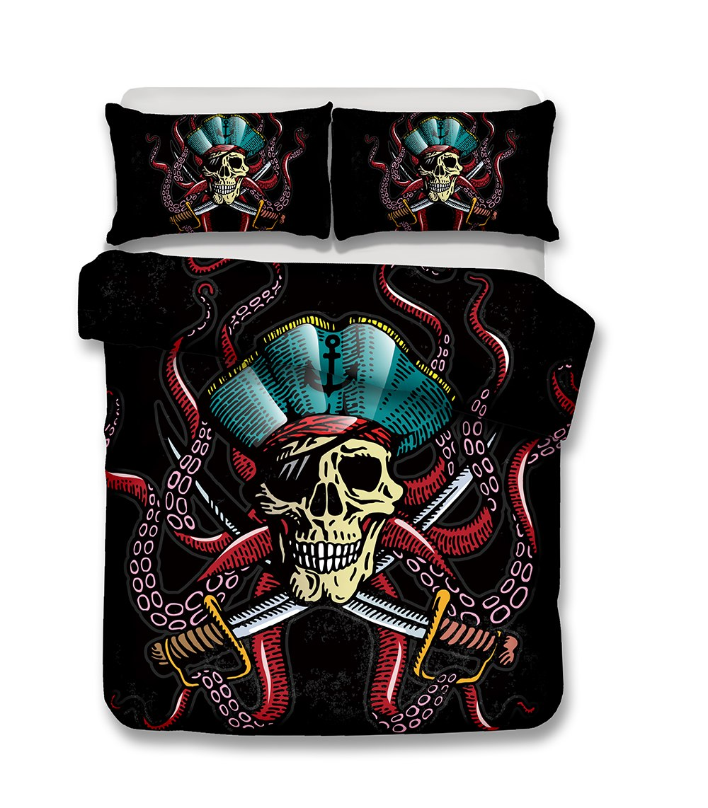 Black 2/3-Piece Pirate Skull Duvet Cover Bedding Set