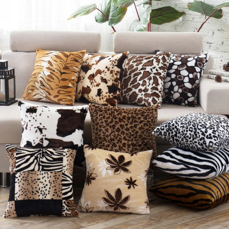 "17"" Soft Plush Animal Print Throw Pillow Cover"
