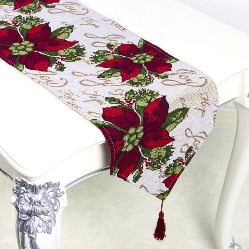 Decorative Christmas Holiday Table Runner w/ Tassel