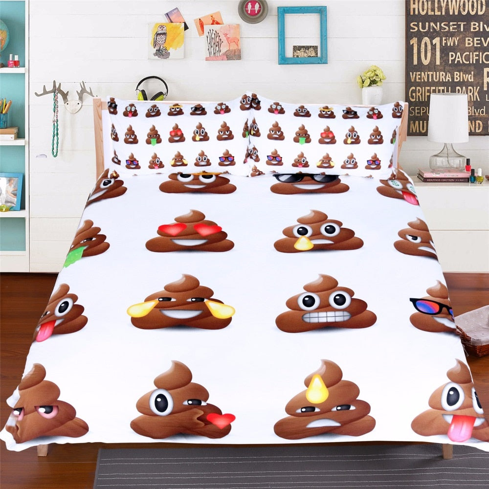 White 3-Piece Poop Emoji Duvet Cover Bedding Set