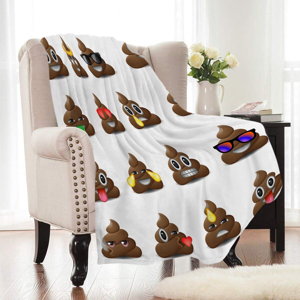 White Cartoon Poop Emoji Fleece Throw Blanket