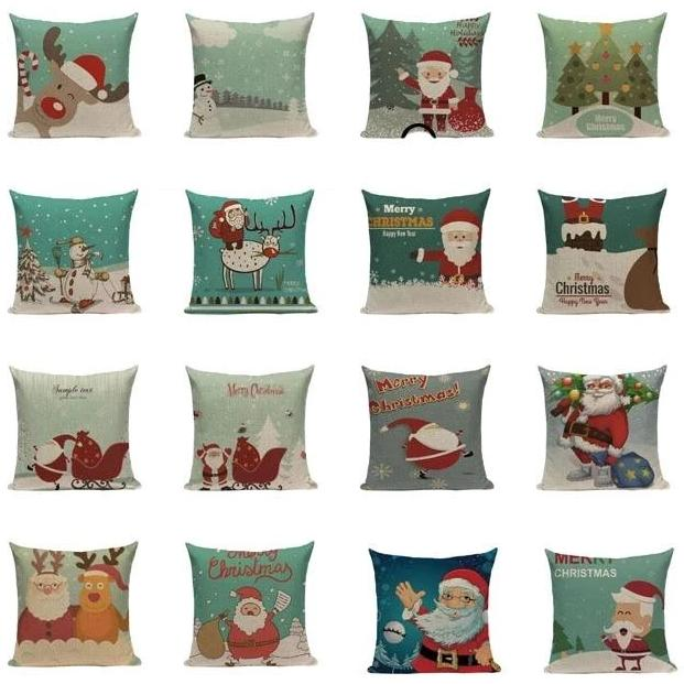"18"" Teal / Blue Christmas Print Throw Pillow Cover"