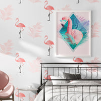 White Pink Flamingo Pattern Wallpaper