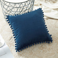 Solid-Color Velvet Throw Pillow Covers w/ Pom Tassels