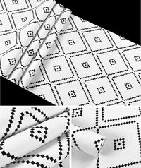 Black & White Nordic Geometric Rhombus Pattern Wallpaper