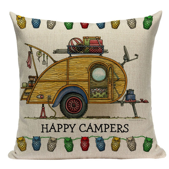 "18"" Happy Campers RV Print Throw Pillow Cover"
