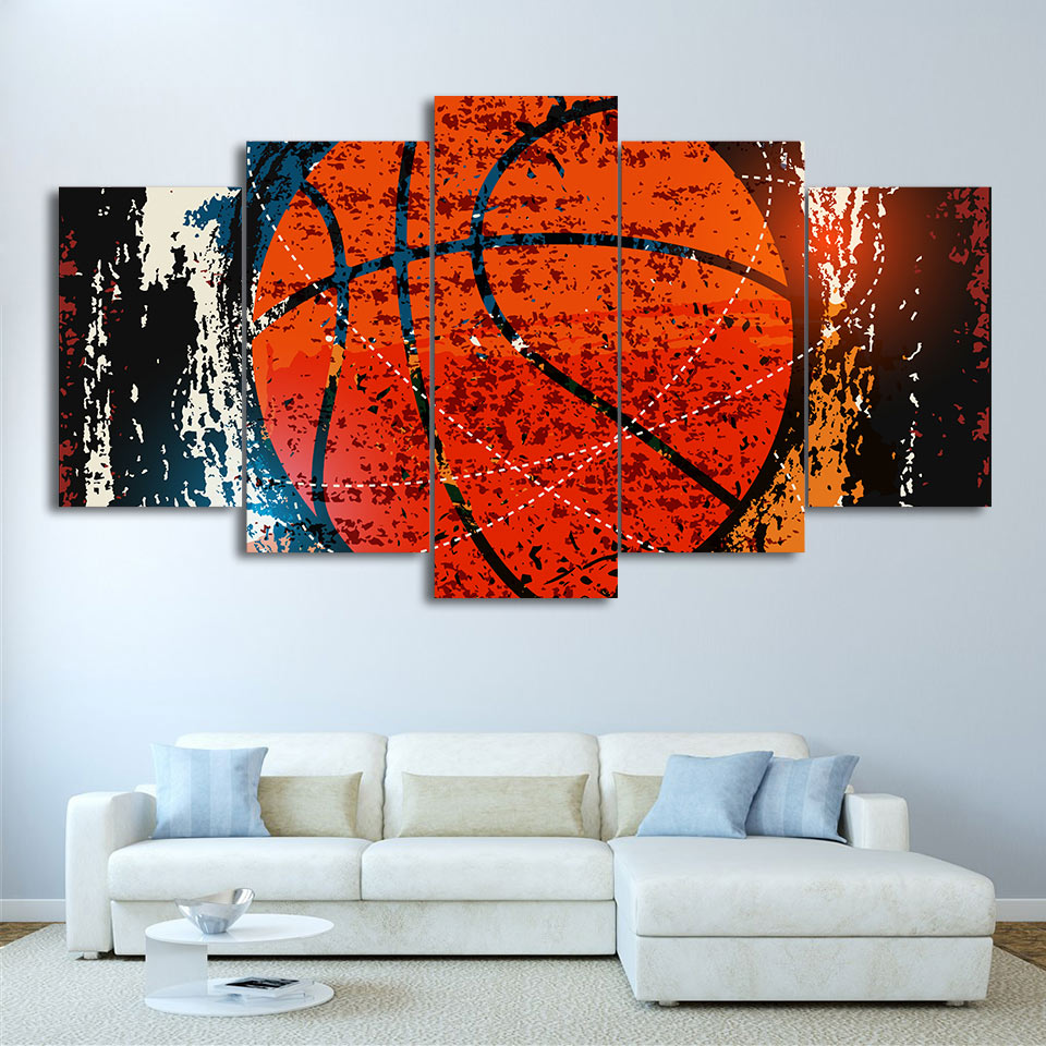 5-Piece Abstract Black / Orange Basketball Canvas Wall Art