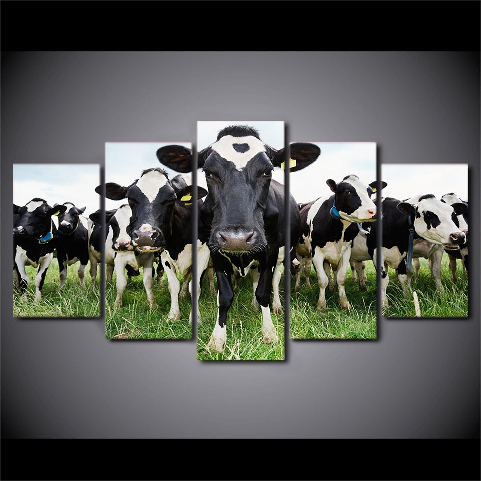 5-Piece Green Grass Grazing Cows Canvas Wall Art