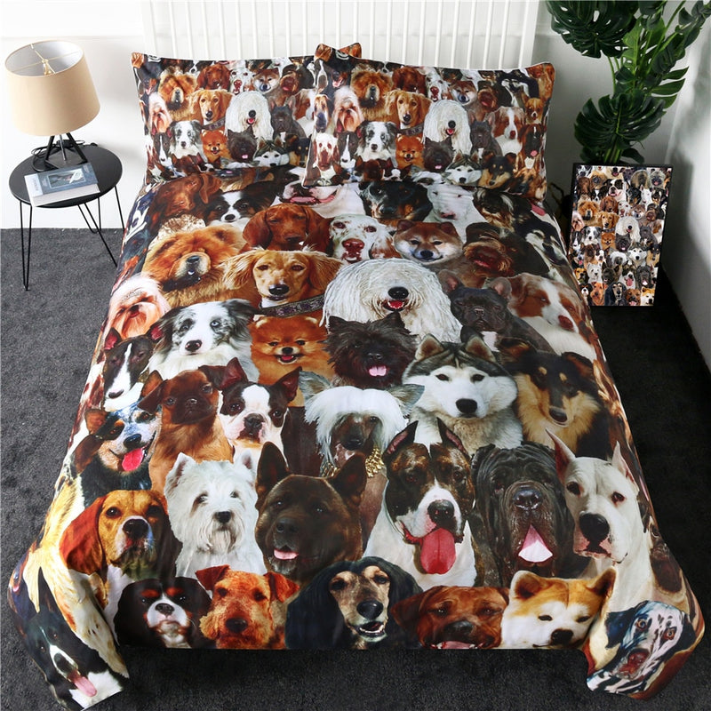 3-Piece Dog Photo Collage Duvet Cover Bedding Set