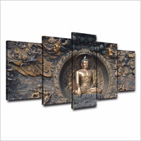5-Piece Ancient Temple Buddha Statue Canvas Wall Art