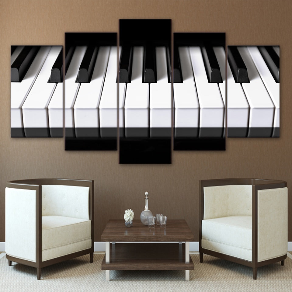5-Piece Black & White Piano Keys Canvas Wall Art
