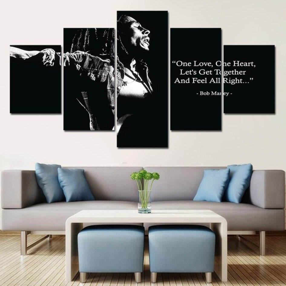 5-Piece Black & White Bob Marley One Love Canvas Wall Art