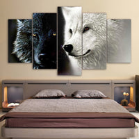 5-Piece Black & White Wolf Companions Canvas Wall Art