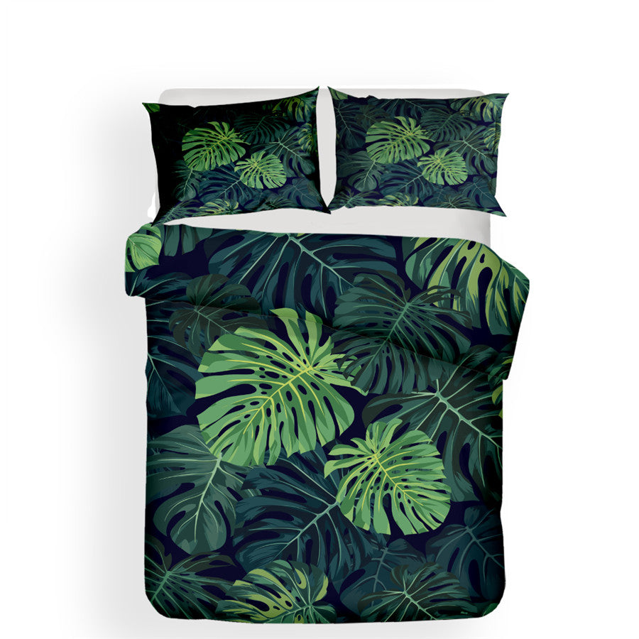 Dark Green 2/3-Piece Tropical Palm Leaf Print Duvet Cover Set