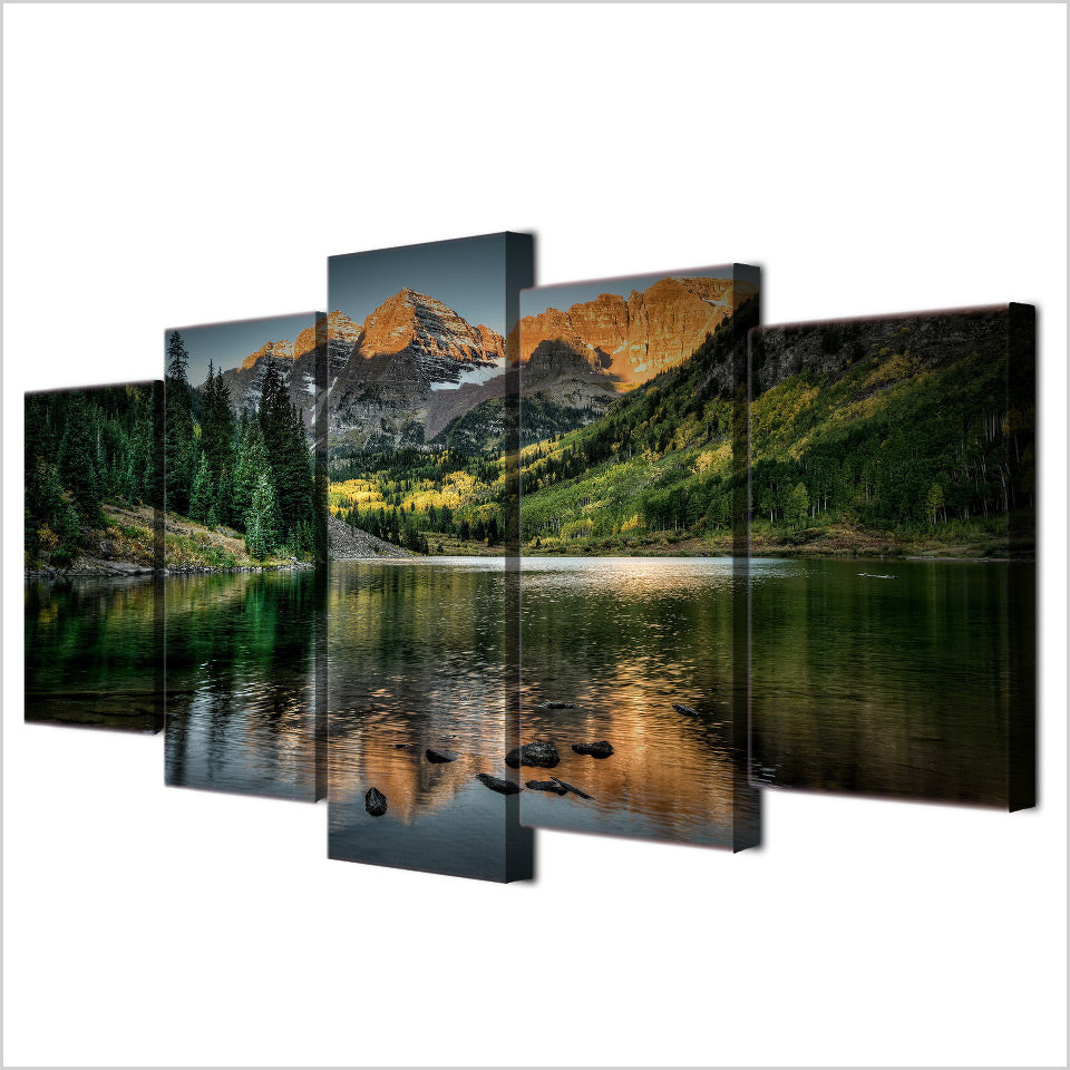 5-Piece Green Mountain River Valley Canvas Wall Art