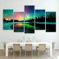 5-Piece Colorful Northern Lights Aurora Canvas Wall Art