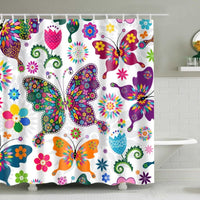 Colorful Bohemian Butterfly Bathroom Shower Curtain