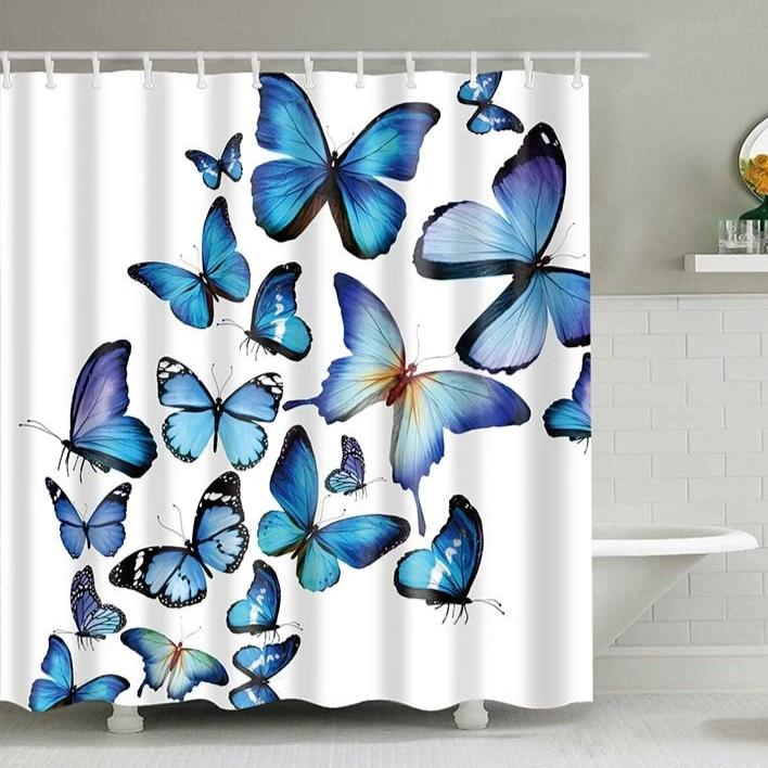 White Flying Blue Butterflies Bathroom Shower Curtain