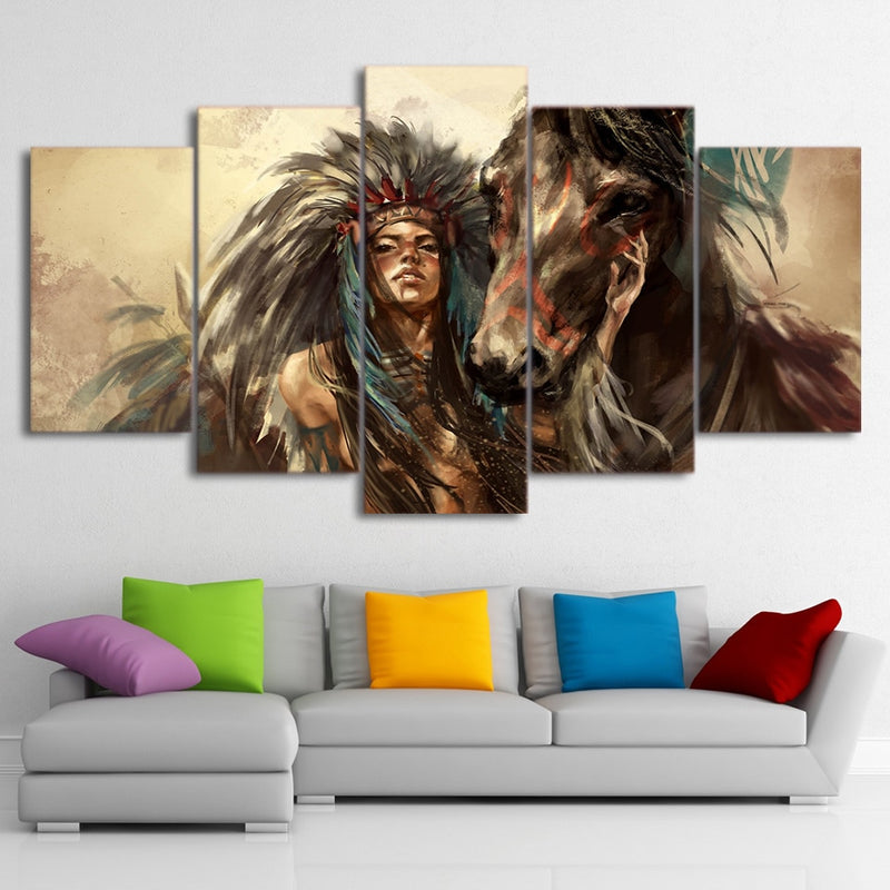 5-Piece Female Native Indian Warrior w/ Horse Canvas Wall Art