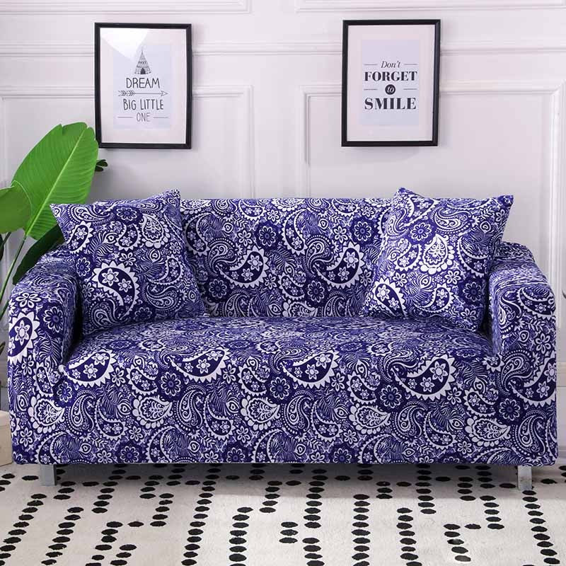 Amazing Blue Floral Paisley Pattern Sofa Couch Cover Ocoug Best Dining Table And Chair Ideas Images Ocougorg