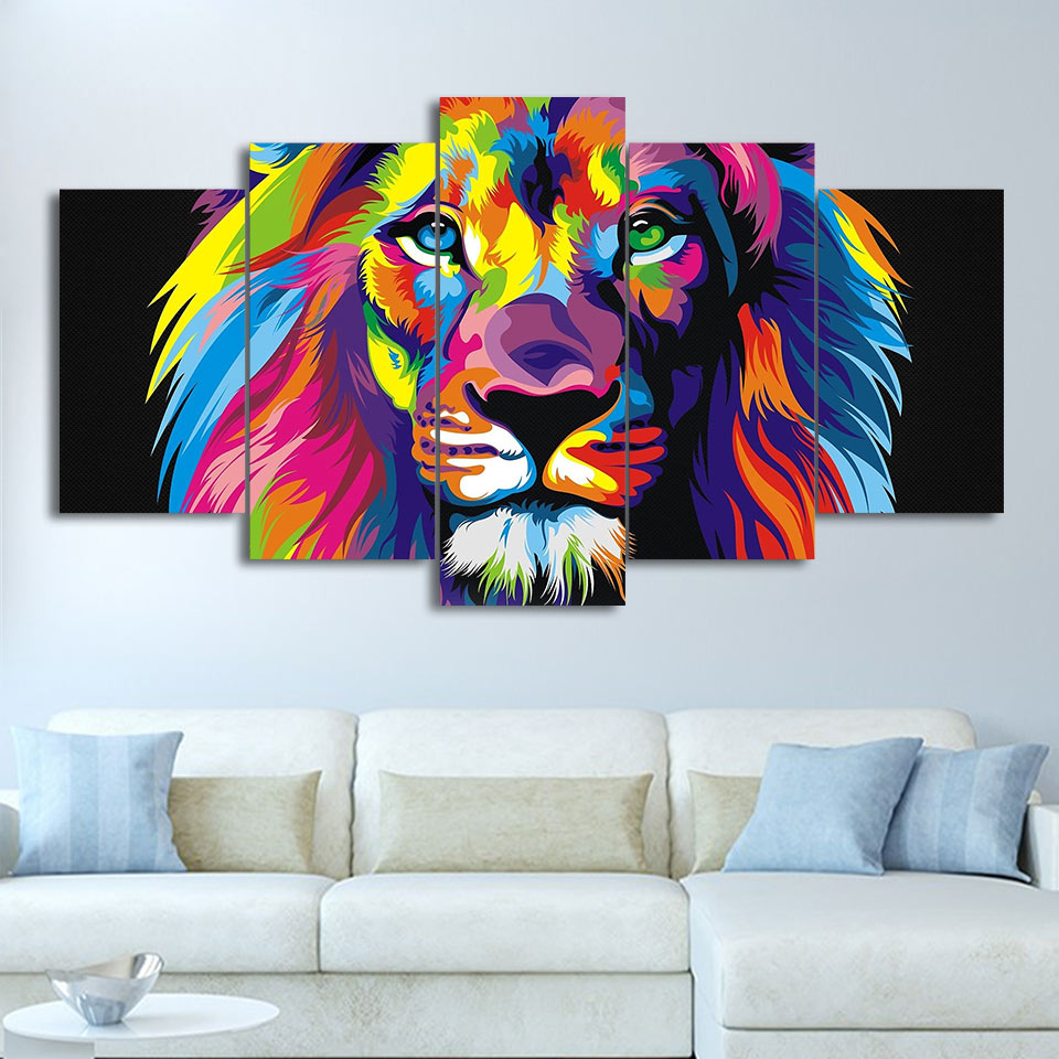 5-Piece Colorful Abstract Lion Painting Canvas Wall Art