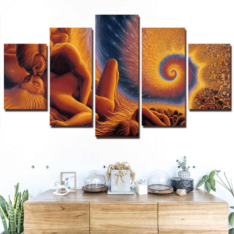 5-Piece Immortal Fibonacci Love Spiral Of Time & Space Wall Art