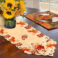 Embroidered Fall Leaves Thanksgiving Table Runner