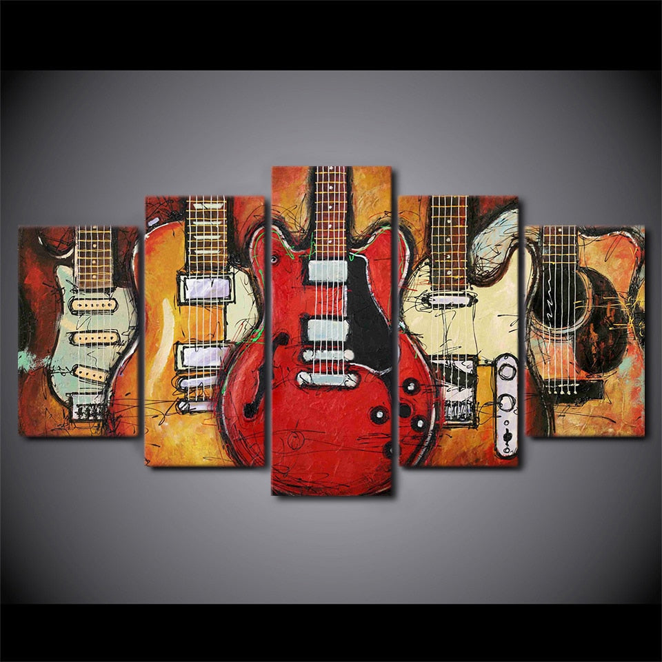 5-Piece Abstract Musical Guitars Canvas Wall Art