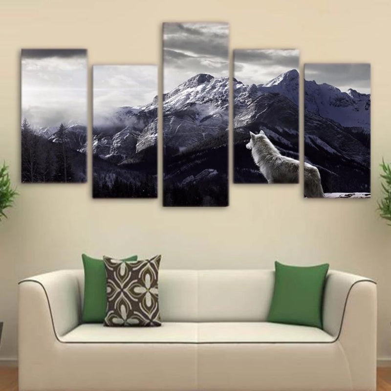5-Piece Black & White Mountain Wolf Canvas Wall Art