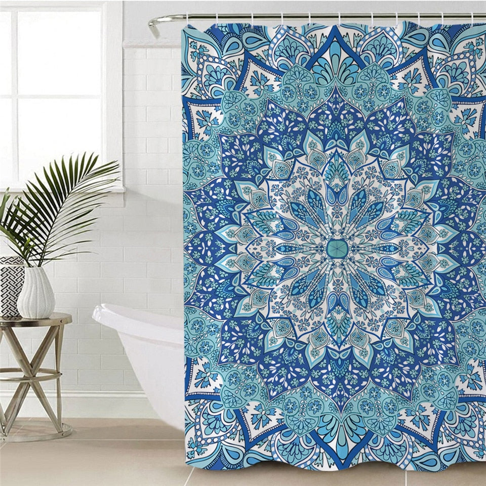 Bohemian Mandala Kaleidoscope Bathroom Shower Curtain