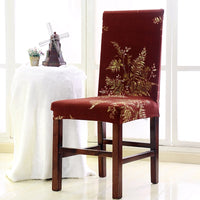 Burgundy Gold Floral Leaf Pattern Dining Chair Cover