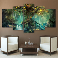 5-Piece Canvas Mystical Enchanted Forest Tree Wall Art